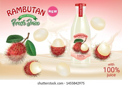Rambutan fruit and design of rambutan fruit bottle and juice