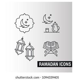 Ramdan Kareem icons set with light background vector