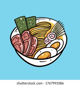 Ramen asian food. Japanese noodle. Colorful vector illustration. Isolated on blue background. Design for poster, banner, print and web.