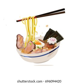 Ramen with chopstick served on traditional bowl. japanese style food - vector illustration