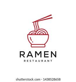 ramen food restaurant vector icon logo design