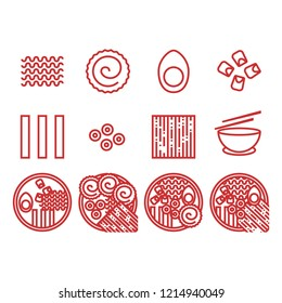 Ramen icons in line style  for any purpose. perfect for website food or menu restaurant ramen.