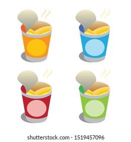 ramen instan noodle cup set icon symbol illustration