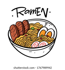 Ramen Japanese food. Cartoon style vector illustration. Isolated on white background. Design for poster, banner, print and web.