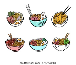 Ramen Japanese Noodle set. Flat vector illustration. Isolated on white background. Design for poster, banner, print and web.