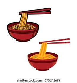 Ramen Japanese noodle soups. vector illustration