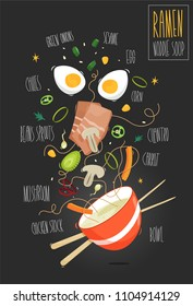 Ramen. Japanese ramen soup. Bowl of soup and ingredients. Vector illustration