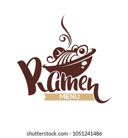 Ramen Menu, vector logo template with bowl full of noodle and lettering composition for your Japanese restaurant