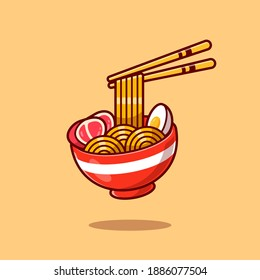 Ramen Noodle Egg And Meat With Chopstick Cartoon Vector Icon Illustration. Food And Drink Icon Concept Isolated Premium Vector. Flat Cartoon Style