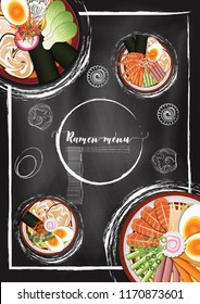 Ramen noodle menu with chalkboard background in hand draw style