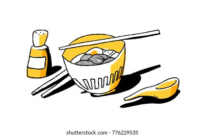 Ramen noodles. Good for mural in japanese restaurant. Vector and JPEG included