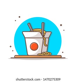 Ramen Noodles Vector Illustration. Chinese Noodles in Paper Box with Chopsticks. Japanese Ramen. Flat Cartoon Style Suitable for Web Landing Page, Banner, Flyer, Sticker, Wallpaper, Card, Background