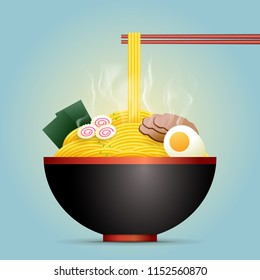 Ramen soup bowl with noodles, sliced chashu marinated braised pork, boiled eggs halves, seaweed, chopsticks. Traditional Chinese & Japanese dish. Realistic vector isolated.
