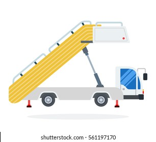 Ramp at the airport vector flat material design object. Isolated illustration on white background.