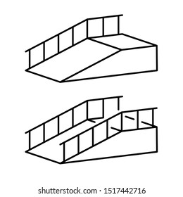 Ramp for disabled simple black outline illustration. Climb post with hand rails.