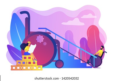 Ramp for people in wheelchairs, disabled care. Accessible environment designing, freedom of movement, disability friendly area concept. Bright vibrant violet vector isolated illustration