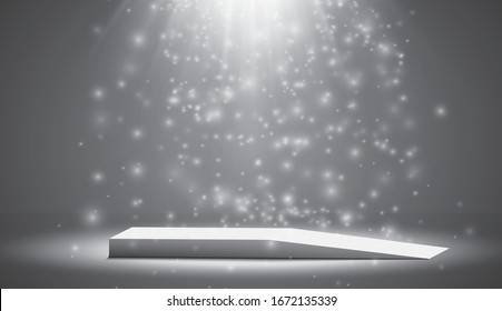 The ramp of the podium, pedestal or platform is illuminated by spotlights on a gray background. Scene with picturesque lights. Vector illustration