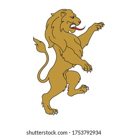 Rampant lion for a coat of arms crest heraldic medieval heraldry or royal family. vintage shield.