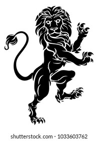 A rampant lion standing on hind legs from a  coat of arms or heraldic crest