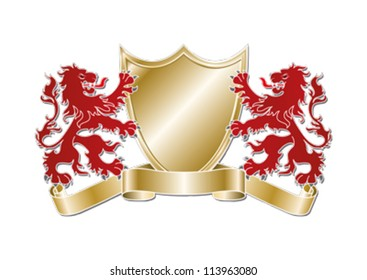 Rampant Lions, Gold Shield and Scrolls editable vector graphic.