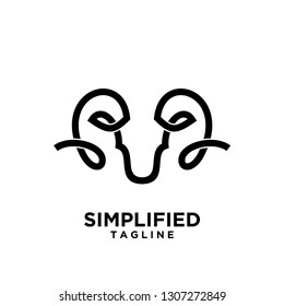 Rams abstract logo with black mono line goat head black logo icon designs vector illustration