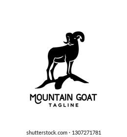 Rams black silhouette with mountain goat head black logo icon designs vector illustration