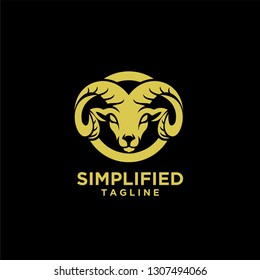 Rams goat head shield sport logo with gold color and black background icon designs vector illustration
