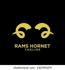 Rams goat horn sport logo with gold color and black background black logo icon designs vector illustration