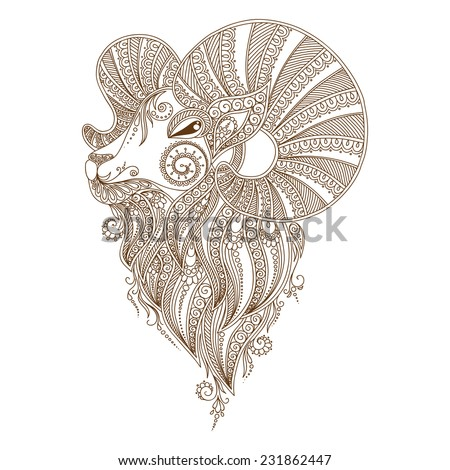 Rams Head Symbol New Year Christmas Stock Vector Royalty Free