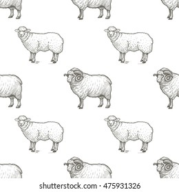 Rams. Seamless vector pattern with animals. Black and white illustration.