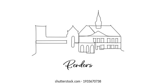 Randers city in Denmark landmarks skyline - Continuous one line drawing