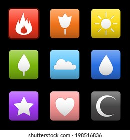 Random abstract flame, flower, sun, tree, cloud, water drop, star, heart, crescent moon. Vector icons for your web design, ui, games, smart phones, desktop.