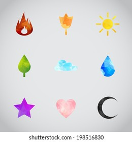 Random abstract polygonal flame, flower, sun, tree, cloud, water drop, star, heart, crescent moon. Vector icons for your web design, ui, games, smart phones, desktop.