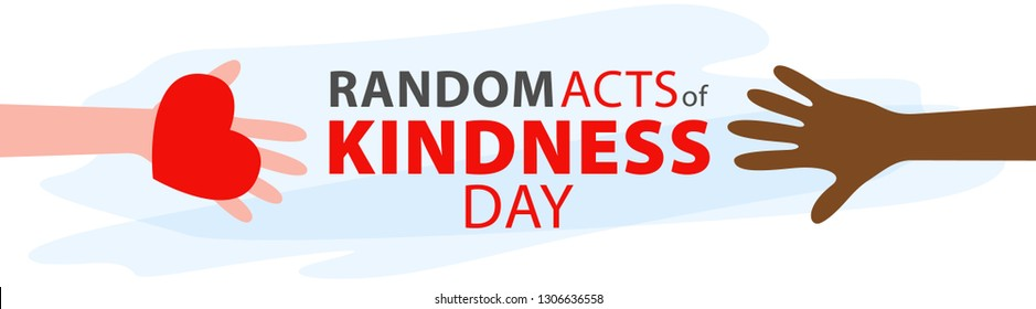 Random acts of kindness day emblem isolated vector illustration. World altruistic holiday event label.