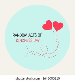 Random acts of kindness day emblem isolated vector illustration on background. world altruistic holiday event label, greeting card decoration graphic element