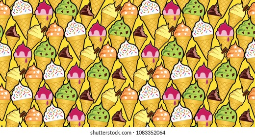 Random background pattern of multi-flavored ice cream cones. Seamless repeat vector