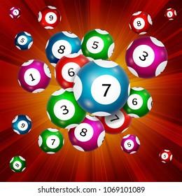 Random bingo balls on a red background, vector illustration