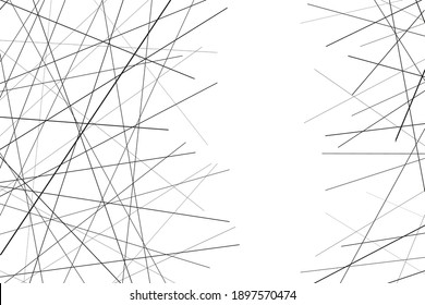 Random chaotic lines. Background texture with chaotic lines. Dynamic intersecting lines. Asymmetrical texture. Abstract vector illustration. White background. Isolation vector