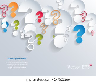 Random colorful 3d question marks background. Vector eps10.