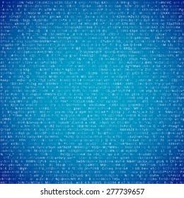Random computer symbols  code blue vector background illustration.