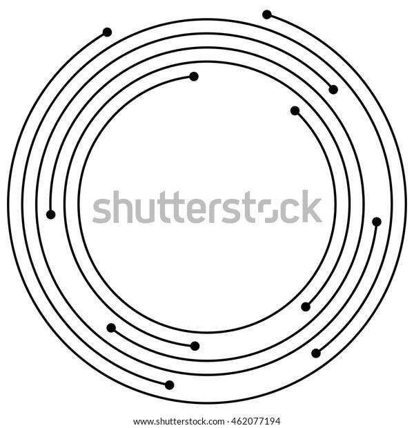 Random concentric circles with dots. Circular, spiral design element.