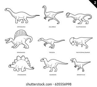 Random Dinosaur Coloring Book Cartoon Vector Illustration