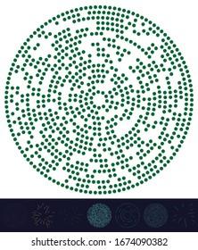 Puntos al azar, círculos abstractos. Especkles, radial de puntos, radiante, ilustración geométrica circular. Punto-polka, elemento de diseño puntillista, puntillismo