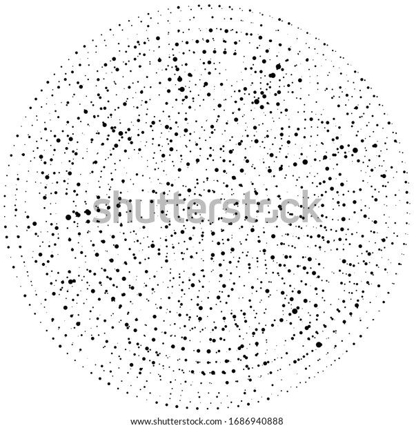 Random dots, circles abstract. Speckles, dotted radial, radiating, circular geometric illustration. Polka-dots, pointillist, pointillism design element