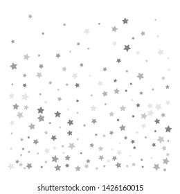 Random falling silver stars on white background. Elegant pattern for banner, greeting card, Christmas and New Year card, invitation, postcard, paper packaging. Vector illustration