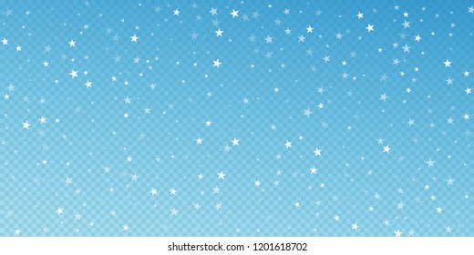 Random falling stars Christmas background. Subtle flying snow flakes and stars on blue transparent background. Awesome winter silver snowflake overlay template. Delightful vector illustration.