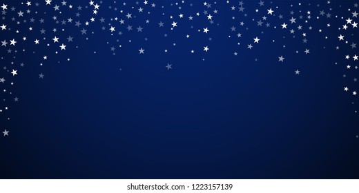 Random falling stars Christmas background. Subtle flying snow flakes and stars on dark blue night background. Attractive winter silver snowflake overlay template. Favorable vector illustration.