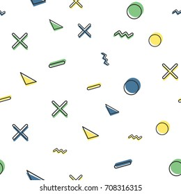 Random geometric shape pattern, retro style. Abstract background, 60s, 70s, 80s, 90s luxury style image. Print cloth, shirt, dress, wrap, wrapper, web, cover, label, banner, emblem, card, website.
