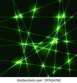 Random green laser beams on dark background