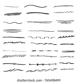 Random hand drawn lines doodle style marker brush set